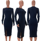 MB Fashion Navy Dress 9403