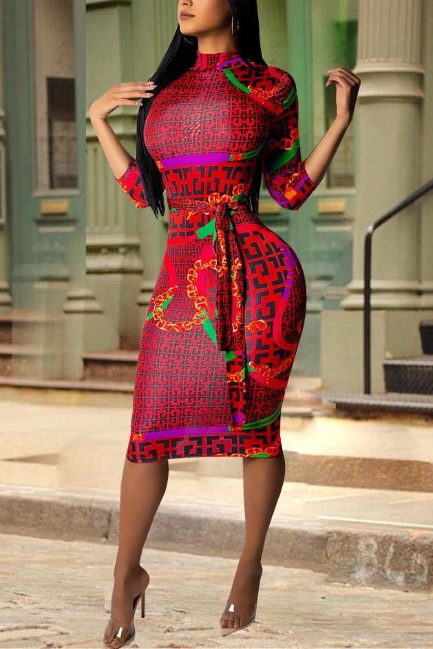 MB Fashion Red Print Dress 3454