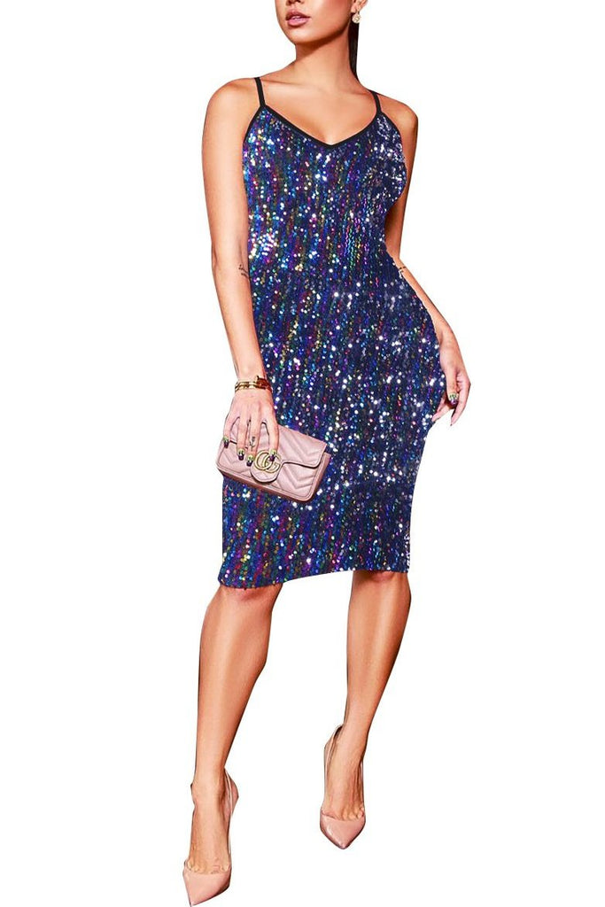 MB Fashion Blue Bling Mini Dress 8271