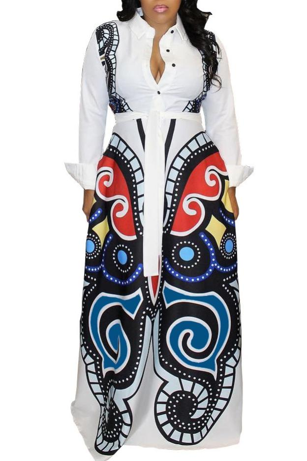 MB Fashion Printed Button Up Long Sleeve Maxi White Dress 162