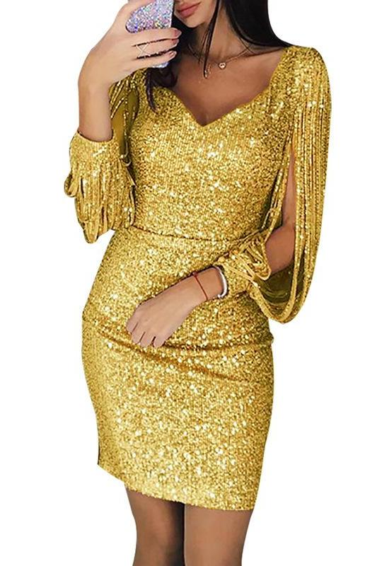 MB Fashion Sequin Tassel Sleeve GOLD 1901 NO stretch SIZE run small
