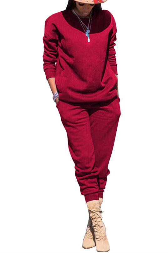 MB Fashion Solid Burgundy 2 PCs Set 5064