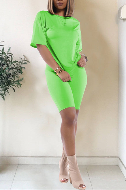 MB Fashion Solid NEON GREEN 2 PCs Set 1006