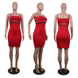 MB Fashion RED Striped Dress 734