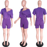 MB Fashion SOLID PURPLE 2 PCs Set 7402 Short Sleeve