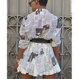 MB Fashion WHITE Newspaper Print Top 3175