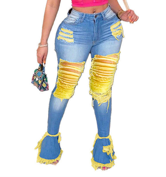 MB Fashion D-BLUE YELLOW Pants 9133