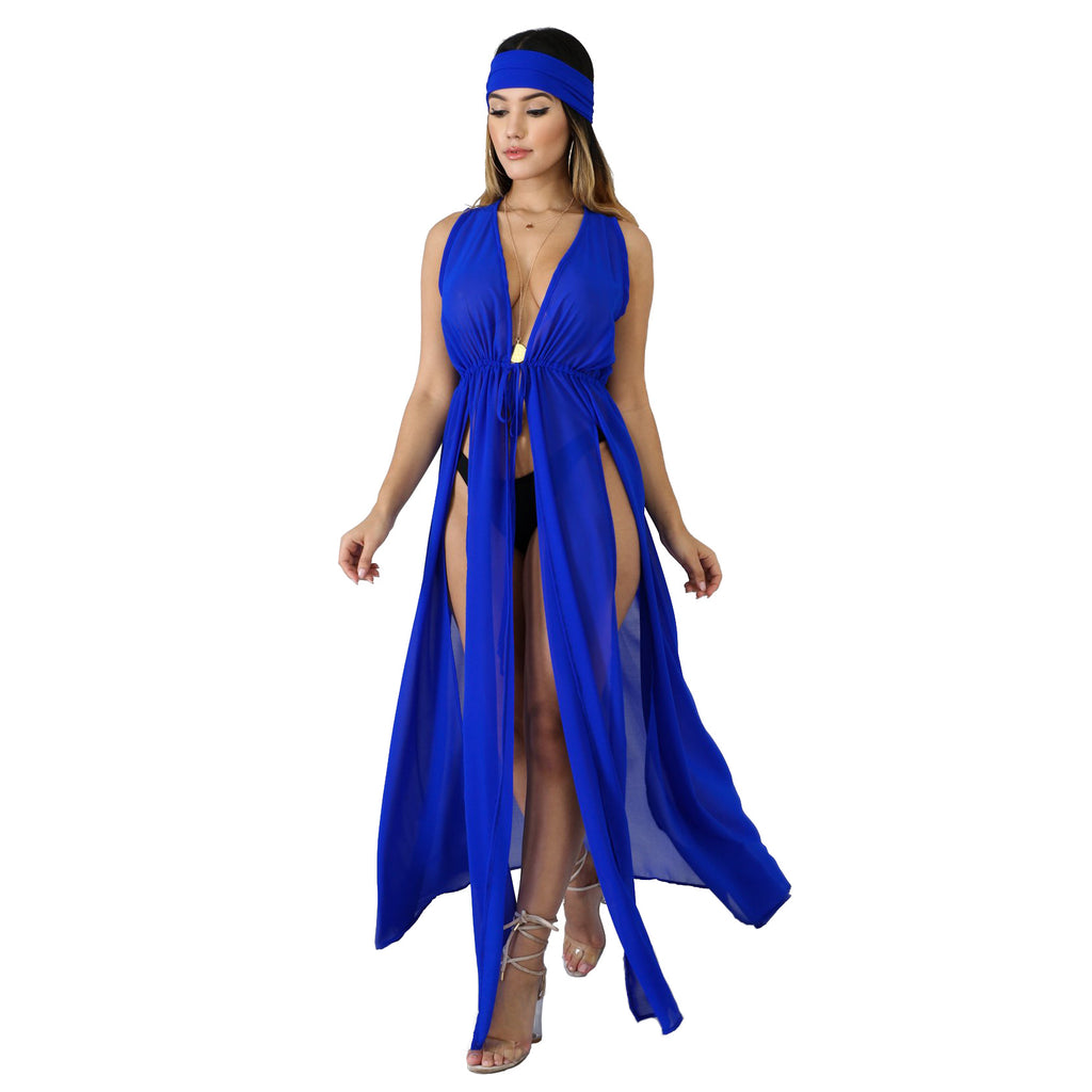 MB Fashion BLUE Cover Up & Headband 646