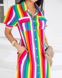 MB Fashion Rainbow Long Dress 1241