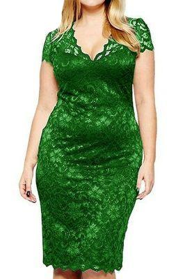 MB Fashion Green Plus Size Lace Dress 518