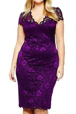 MB Fashion Purple Plus Size Lace Dress 518