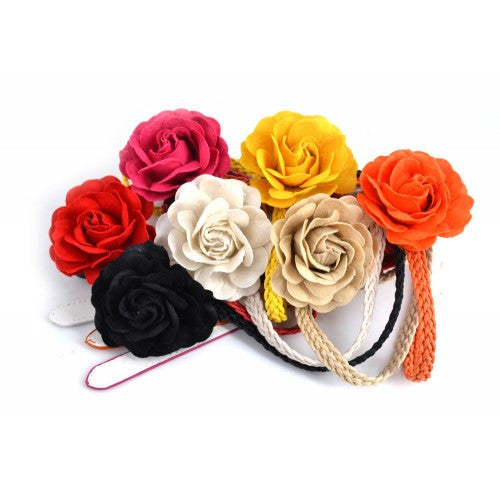 Belt With Flower / Assorted Colors / 12 PCS