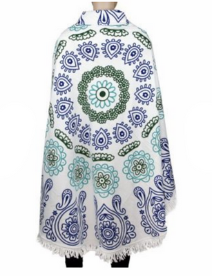 MB Fashion Multi White Green Beach Towel 2