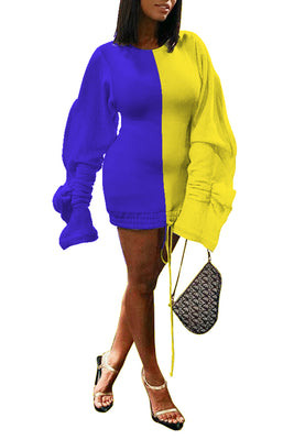 MB Fashion YELLOW BLUE Dress 6201R
