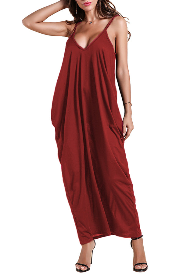 MB Fashion BURGUNDY Long Dress 757