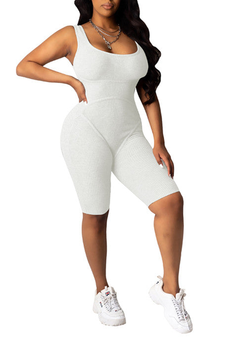 MB Fashion WHITE Jumpsuit WITHOUT MASK 7388