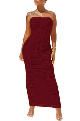 MB Fashion Burgundy Dress 8090