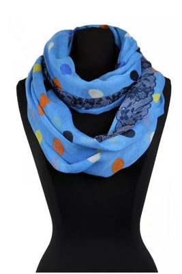 Color Polka Dots Print Infinity Scarf AAZZ 706/ Assorted pack ( 6 pcs)