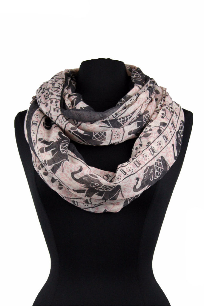 Elephant Print Infinity Scarf AAdz 701 /  Assorted pack ( 12 pcs)