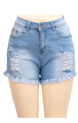 MB Fashion Light Blue Denim Shorts 2967