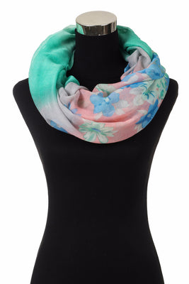 Flower Print Infinity Scarf AAls 799/ Assorted pack ( 6 pcs)
