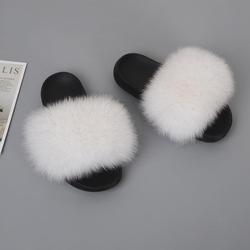 MB Fashion Solid WHITE 86 Fur Sandals