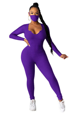 MB Fashion PURPLE Jumpsuit With Mask 5003