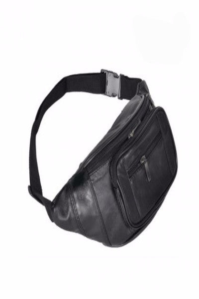 MB Fashion Black PU Leather Fanny Pack 7208