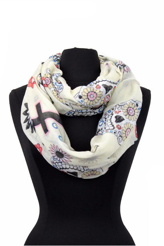 Cross & Beautiful Skull Print Scarf AATH 889 / Assorted pack ( 6 pcs)