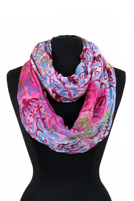 Square Flower Pattern Print Infinity Scarf AATH 910 /  Assorted pack ( 6 pcs)