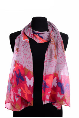 Butterfly Rose Print scarf AATH 914 /  Assorted pack ( 6 pcs)
