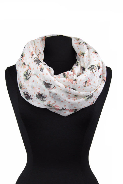 Elephant & Polka dots Print Infinity Scarf XY 553 / Assorted pack ( 6 pcs)