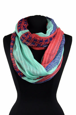 Checkered Print Infinity Scarf AAxy 556/ Assorted pack ( 6 pcs)