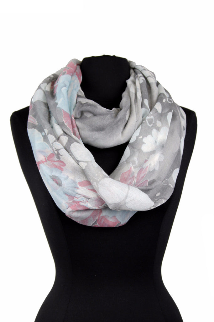 Flower Print Infinity Scarf AAZZ 709 / Assorted pack ( 6 pcs)