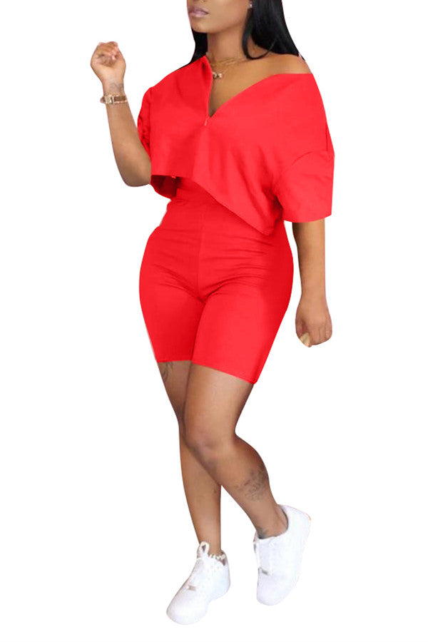 MB Fashion SOLID RED 2 PCs Set 7402 Short Sleeve