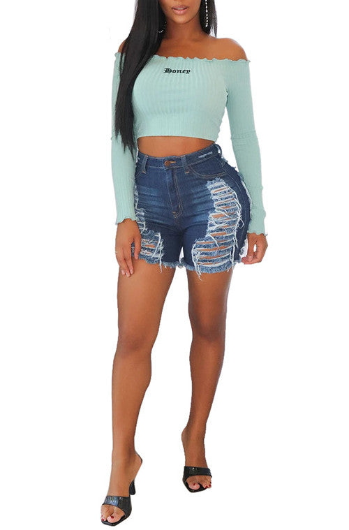 MB Fashion D-BLUE Shorts 2841 SIZE run small