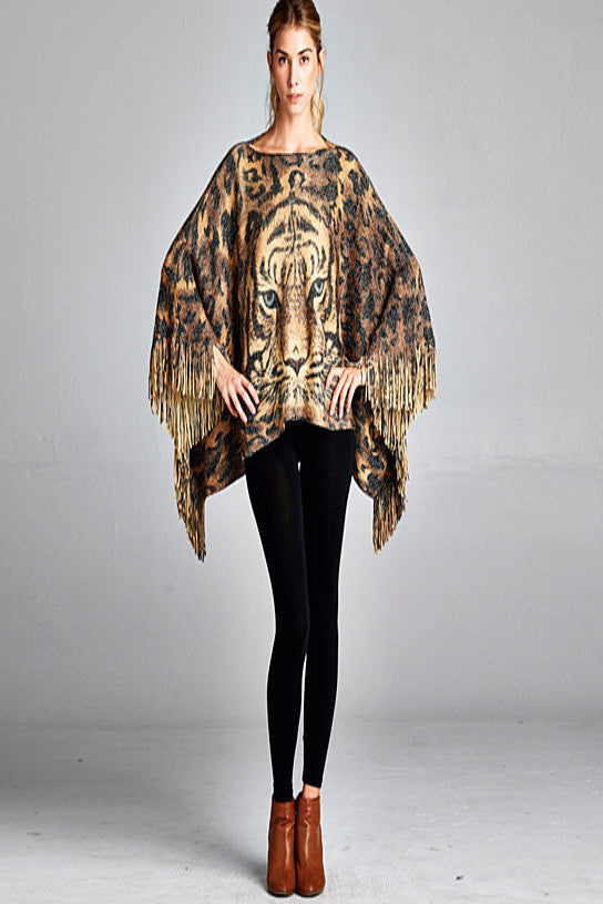 MB Fashion Cozy Tiger Print Fringed Poncho One Size P 73