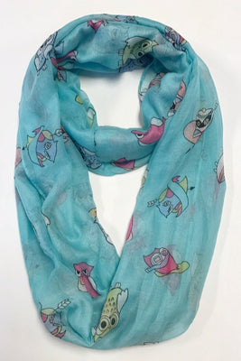 Owls & Heart Print Infinity Scarf AAZZ 708/ Assorted pack ( 6 pcs)