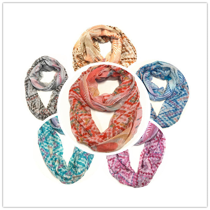 Swirled Print Infinity Scarf AAZZ 710/ Assorted pack ( 6 pcs)
