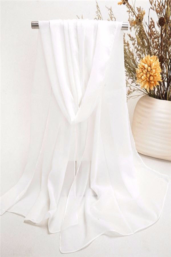MB Fashion White Silk Ribbon Scarf / 12pcs / Pack Size 18x60 Inches