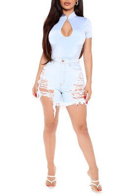 MB Fashion SKY BLUE Shorts 2841 SIZE run small
