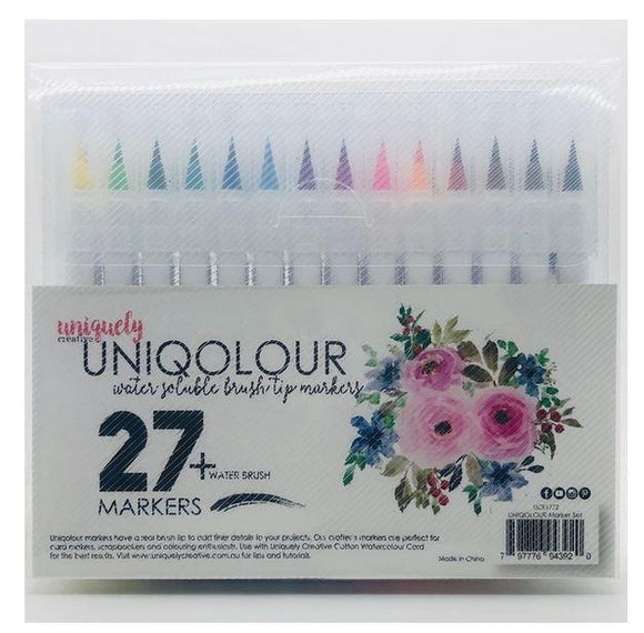 UCE1772 : UNIQOLOUR Marker Set 27 + Water brush