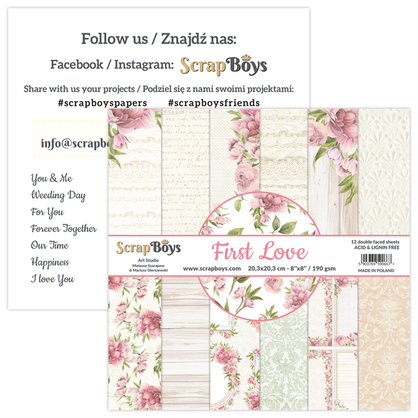 Scrapboys 8x8 Paper Pack- FILO-10 (First Love)