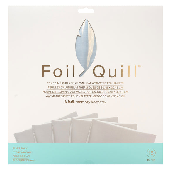 661025 : Foil Sheets - WR - Foil Quill - 12 x 12 - Silver Swan - 15 Sheets