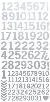 AS266 - Number Stickers - Metallic Silver