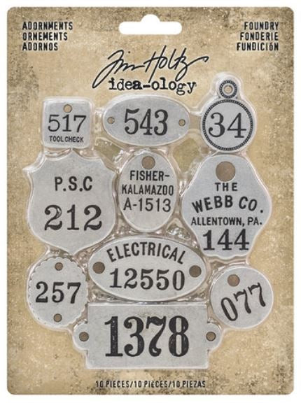 Tim Holtz Idea-Ology  Metal Adornments 10/Pkg-Foundry