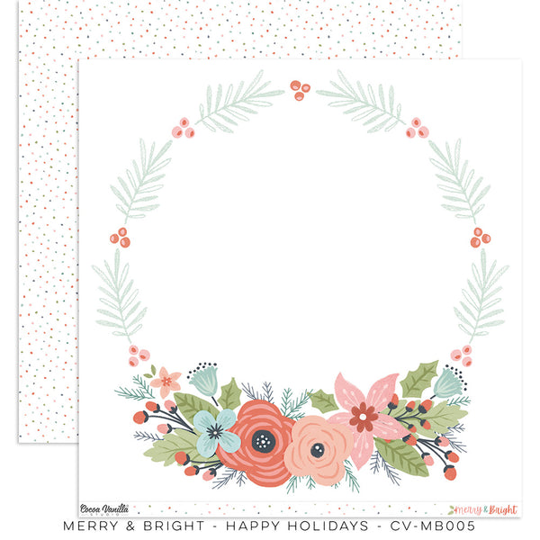 "CV-MB005 : Merry & Bright ""Happy Holidays"" Paper (Cocoa Vanilla)"