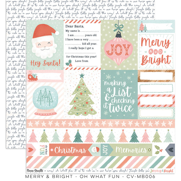"CV-MB006 : Merry & Bright ""Oh What Fun"" Paper (Cocoa Vanilla)"