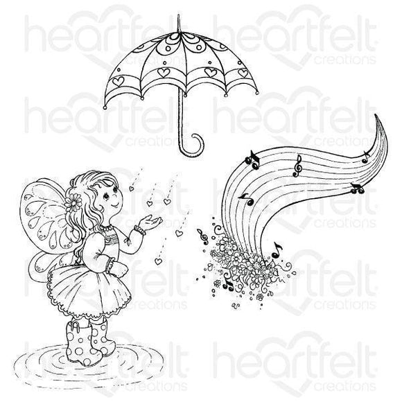 HCPC-3809 : Heartfelt Creations : Singing in the Rain - Singing in the Rain Cling Stamp Set