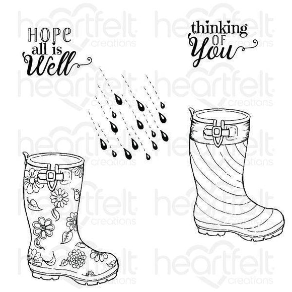 HCPC-3812 : Heartfelt Creations : Singing in the Rain - Raindrop Sentiments Cling Stamp Set
